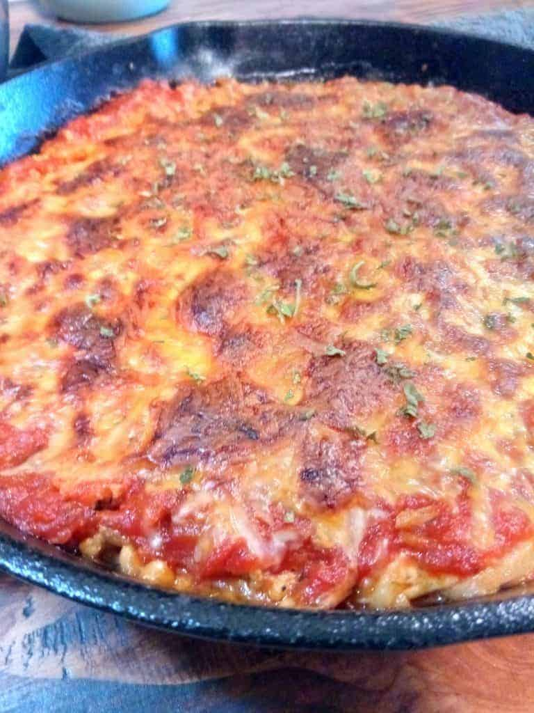 Gluten-Free Spaghetti Pie {in a Cast Iron Skillet}