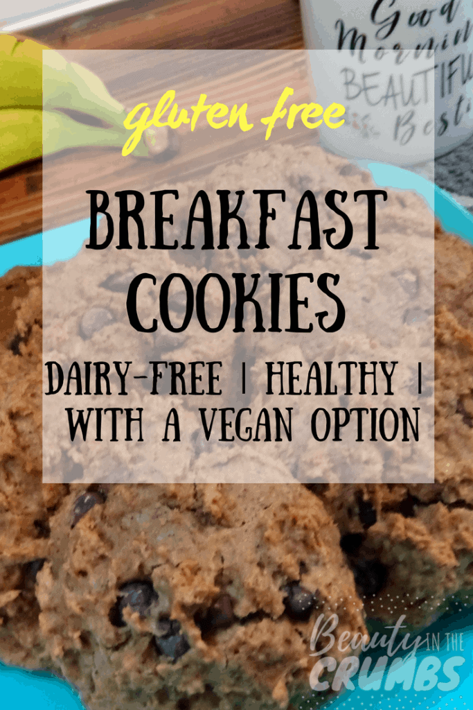 healthy, easy breakfast cookies gluten free and dairy free with a vegan option, gluten free breakfast, soaked oats