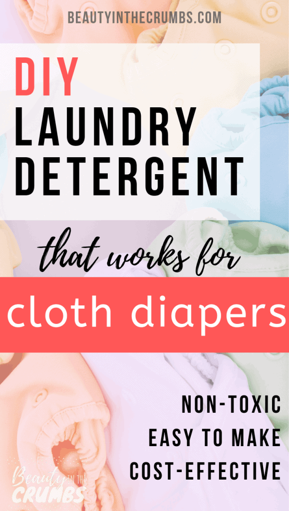 An easy, effective, and inexpensive homemade laundry detergent that is safe for cloth diapers! No borax, no soap grating, and no hassle. #diylaundrydetergent #powderlaundrydetergent #nontoxic