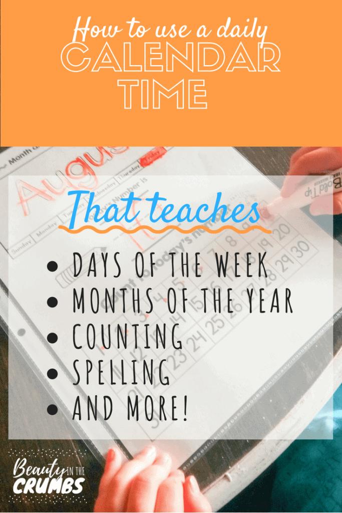 Calendar time, calendar time student sheet, dry erase calendar sheet for students