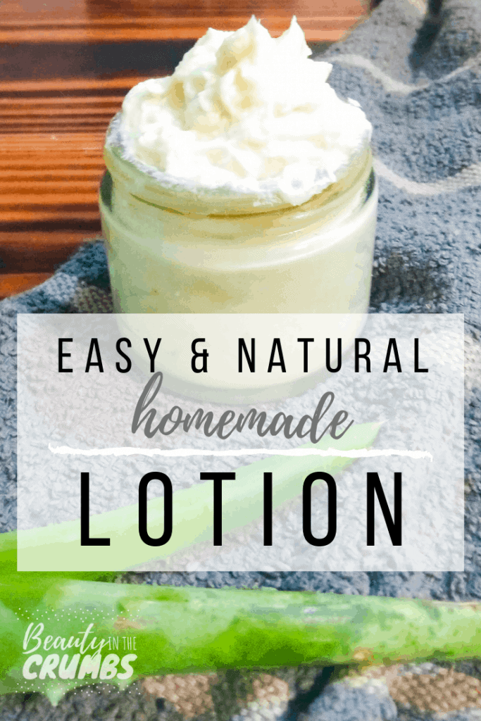Homemade Lotion DIY recipe that is easy to make! It's non greasy, great for dry skin, eczema, and sensitive skin, body or face. This recipe mainly uses shea butter and aloe vera with no coconut oil.