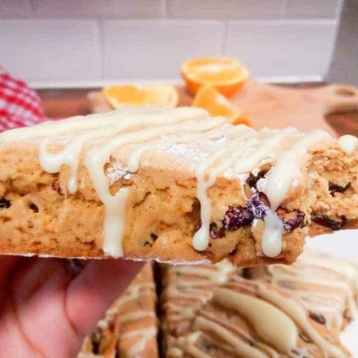 The best gluten free cranberry orange scones! These taste like Starbucks but without the gluten. There's also a dairy-free and vegan option. Gluten free | Dairy free | Vegan Breakfast | Frugal Family Breakfast