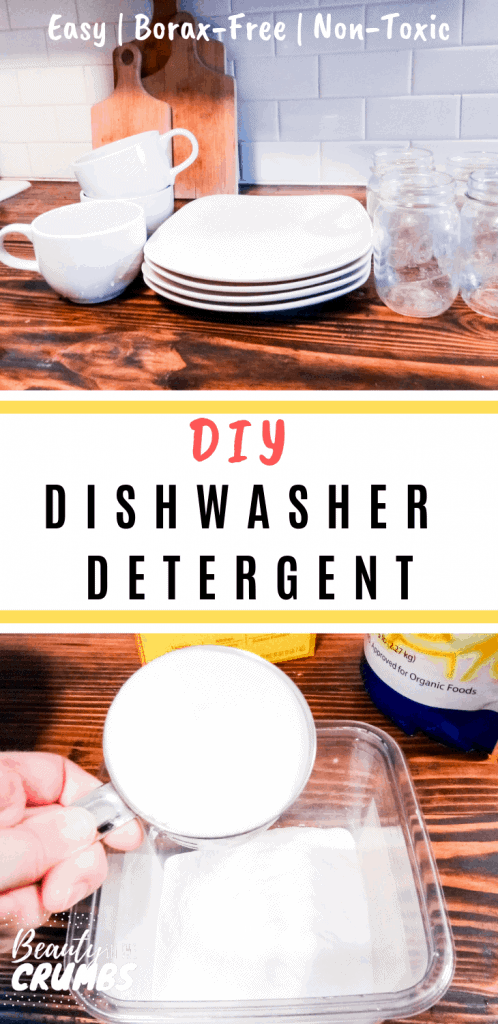 DIY powder Dishwasher Detergent without borax that is all natural, non toxic, uses simple ingredients, and comes together in minutes! Not to mention it's inexpensive and will save you money!