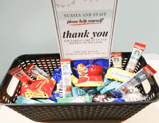 Thank you gift basket for labor and delivery nurses and staff
