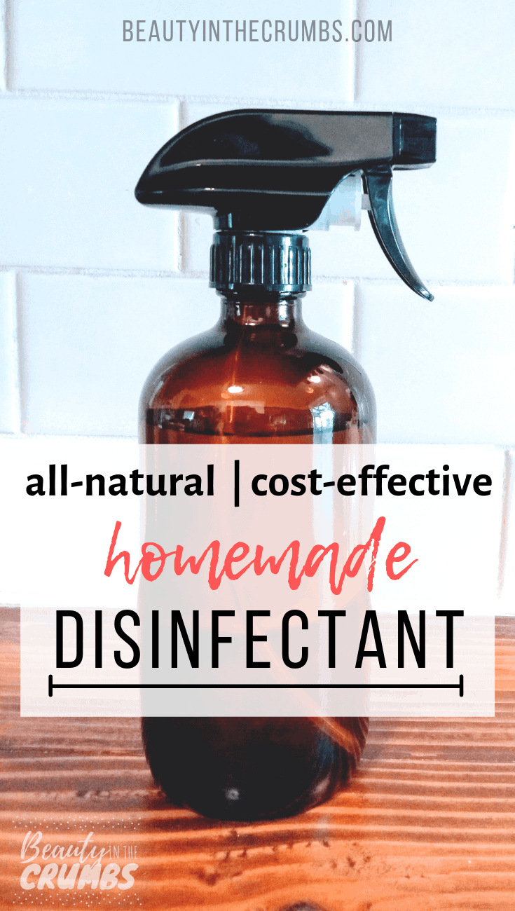 Learn how to make this DIY Disinfectant that is all natural, non toxic, cheap, and works like Lysol. This spray uses essential oils, white vinegar, and alcohol to disinfect your home