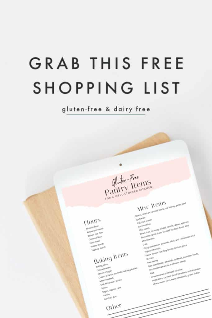 Free gluten-free shopping list for pantry items
